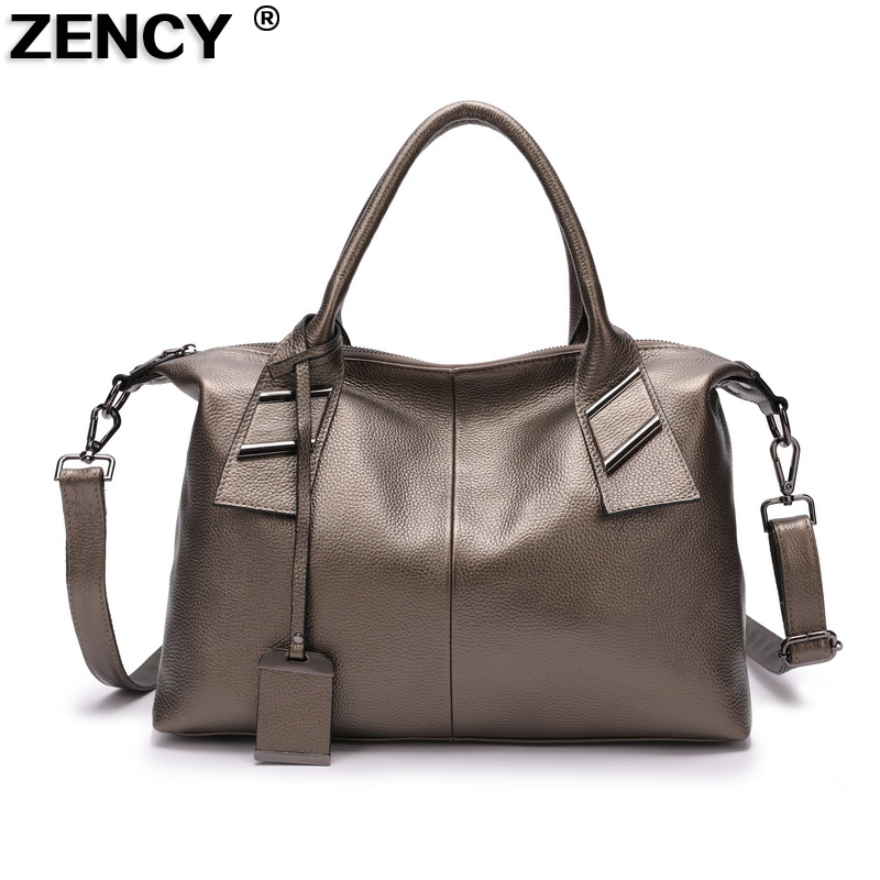 ZENCY 100 Soft Genuine Leather Luxury Women s Handle Bags Lady Shopping Large Casual Handbags Female