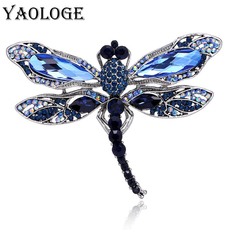 YAOLOGE Fashion Crystal Vintage Dragonfly Brooches for Women Large Insect Brooch Pins Dress Coat Accessories Cute Jewelry Gifts