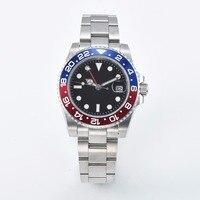 Men's GMT Watch 40mm Black Sterile Dial Sapphire Glass Red/Blue Bezel Automatic Clock L40 8