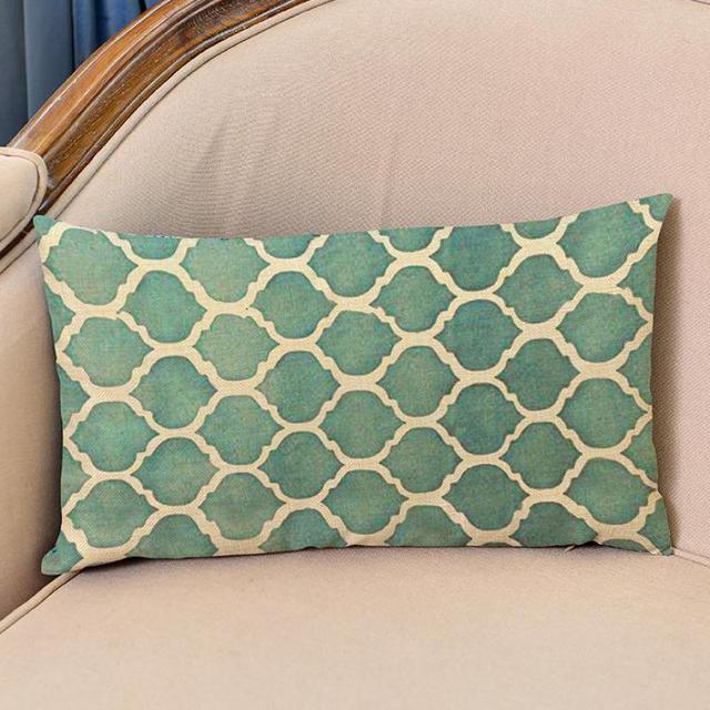 European Style Geometric Dotted Line Patterns Decorative Cotton Linen Rectangular Backrest Pillow Cushion For Office Chair