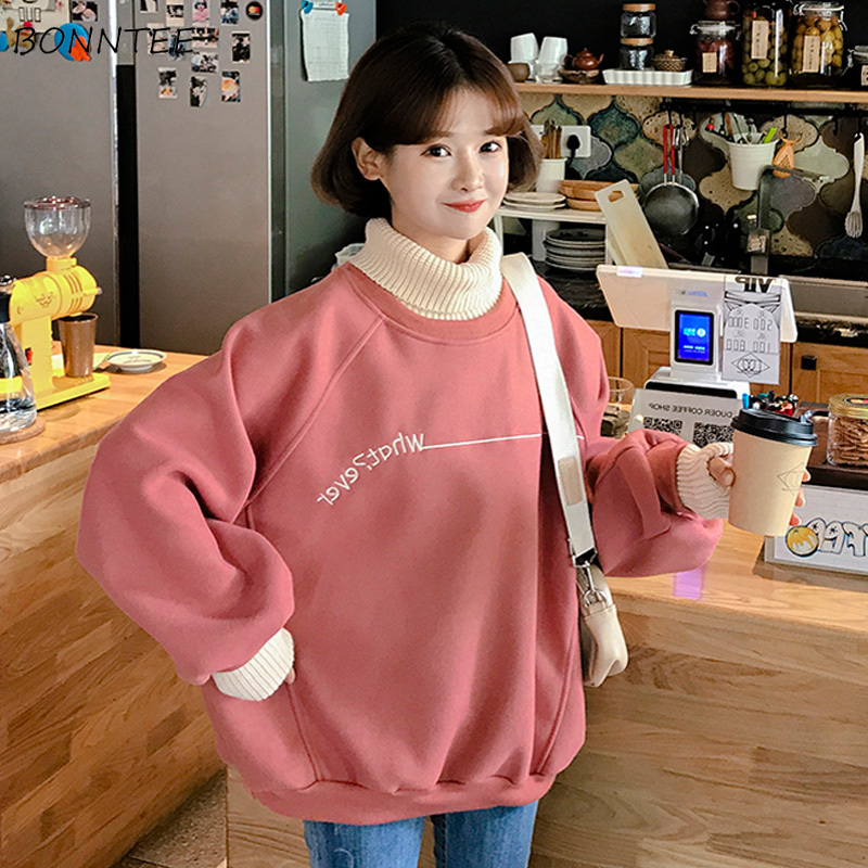 Hoodies Women Solid Thicker Plus Velvet False Two-piece Turtleneck Letter Embroidered Loose Womens Hoodie All-match Leisure Chic