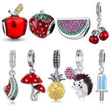 925 Sterling Silver Fruit Collection Watermelon Pineapple Strawberry Apple Charm Fit Charm Bracelet DIY Silver 925 Jewelry Gift(China)