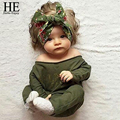 HE Hello Enjoy baby girl clothes 2016 autumn baby rompers newborn babysuits green long-sleeved letter baby costume jumpsuit