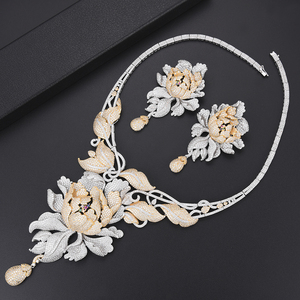 Image 4 - 4 PCS יוקרה חרצית מעוקב Zirconia ניגרי דובאי חתונת תכשיטי סטי שרשרת עגילי צמיד טבעת תכשיטי עבור נשים