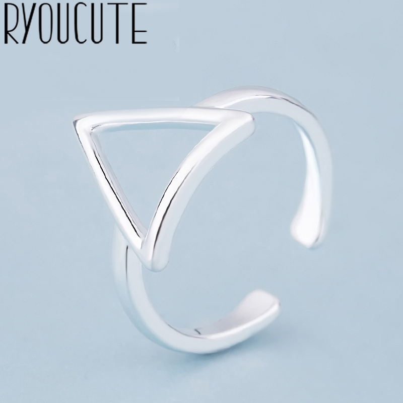 Bohemian Vintage 925 Sterling Silver Triangle Rings For Women Fashion Statement Jewelry Adjustable Finger Ring Girls Gifts