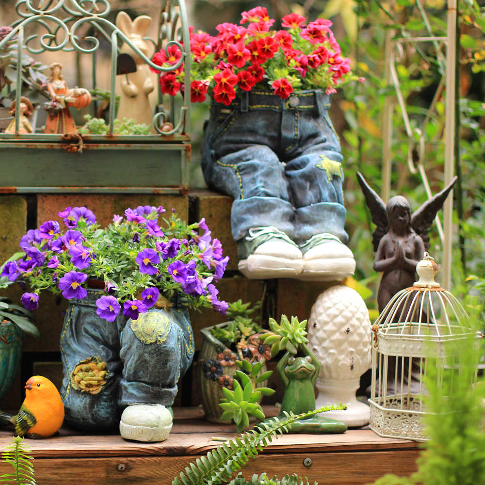 Sitting Jeans Statue Yard Balcony Cement Vase Figurines Home Furnishing Decoration Kneeling Jeans Flowerpot Large Succulents