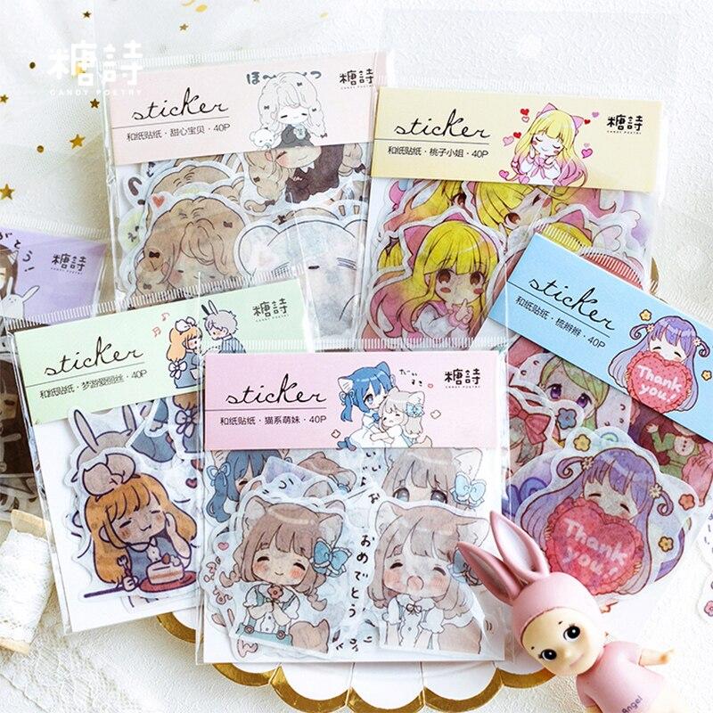 40 Pcs/lot Cute Cartoon Girl Washi Paper Sticker Decoration DIY Ablum Diary Scrapbooking Label Sticker Kawaii Stationery
