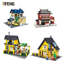 Wange Architecture series Rural villa House Famity Home Figures Building Blocks set children Educational toys Brinquedos Gift