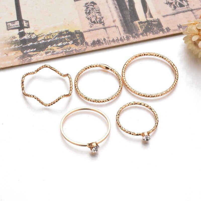 Moda geometryczna 5 sztuk/zestaw zestaw pierścieni biżuteria pierścień uszczelniający kobiet ogon kryształ Rhinestone pierścienie dla kobiet prezent ślubny
