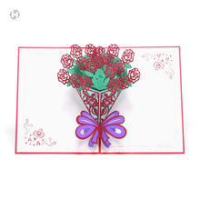 HEART MOON Rose Wedding Cards laser 3D Cut Paper Pop Up weding Card With Envelope Invitations weddings Invitation weeding gift(China)