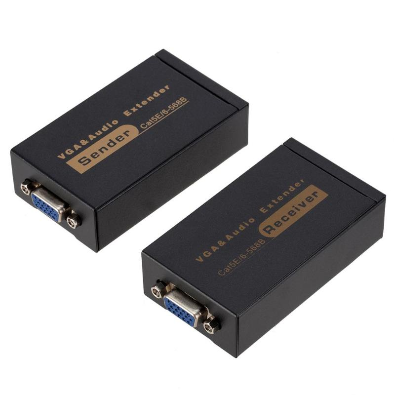 VGA Network Video Extender Booster Sender 1080P 100m RJ45 CAT6 Transmitter Receiver Adapter with Audio Signal for HDTV Hot Sale