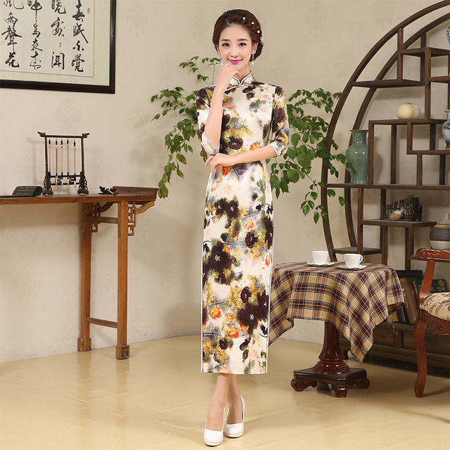 de6f7f4e74 High Quality Silk Women Long Cotton Cheongsam Female Sexy Chinese  Traditional Costume Lady Long Sleeve Party