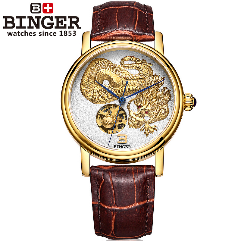 Skeleton Watches Luxury Brand Watch Automatic Mechanical Watches Chinese Dragon Hand-Carved Leather Strap Men Watch Sapphire