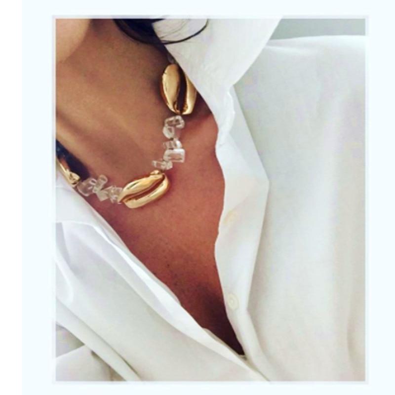 aec46c4dfa60 Collar de concha de moda barroca collar de piedra natural de cristal de  cuarzo collier mujeres