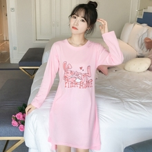 2018 Autumn 100% Cotton Student Nightgowns for Women Long Sl