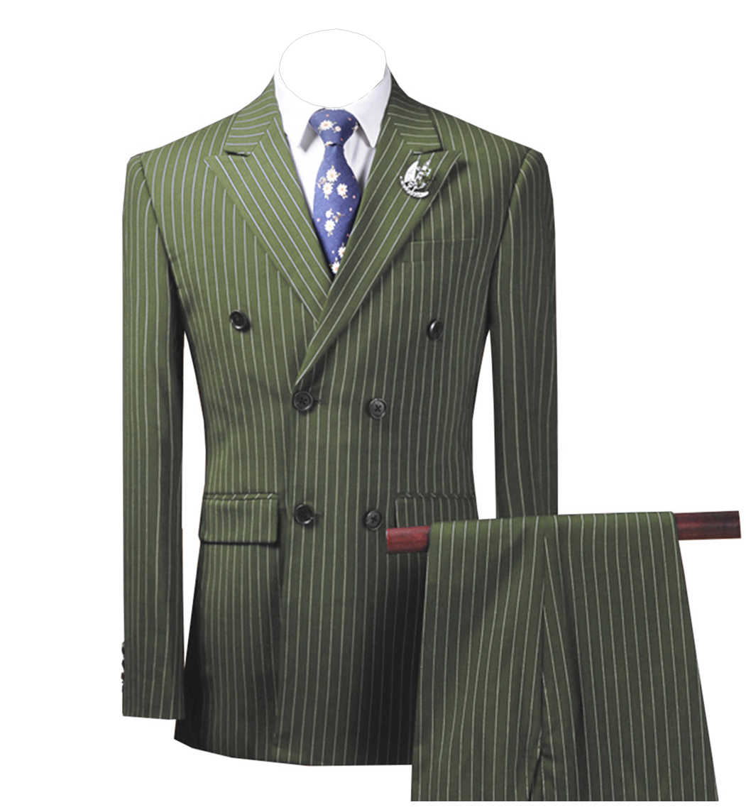 2 個メンズスーツストライプスリムフィットビジネスグレースーツ新郎ツイードウールブラウンタキシードイブニング結婚式のために (ブレザー + パンツ)