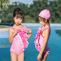 AONIHUA Bow Tie One Piece Swimsuit For Girl Dot Sleeveless Outdoor Summer Swim Wear Polyester Swimming Travel Beach Suit