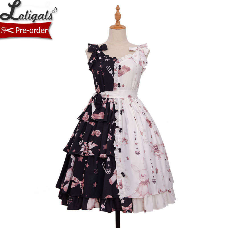 Chocolate Bunny Punk Contrast Color Printed Lolita JSK Dress by Magic Tea Party Pre order