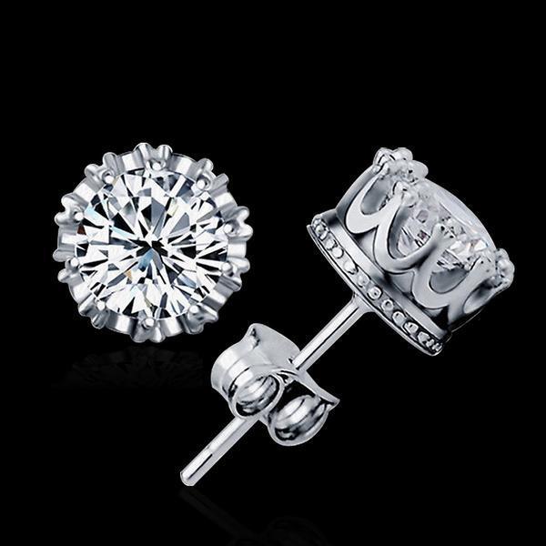 Women Earrings Fashion 925 Sterling Silver Charming Round Zirconia Stud Earrings Jewellery Gift z2eEePZHp