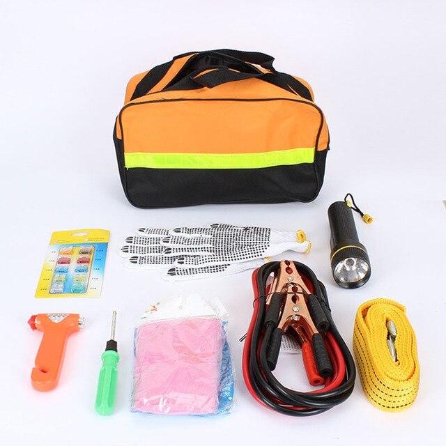 Автомобиль аварийные комплекты 9 шт. авто придорожный аварийной автоинструмент поставки комплект сумка фонарик автомобиля разбивка оборудование для обеспечения безопасности спасательное снаряжение