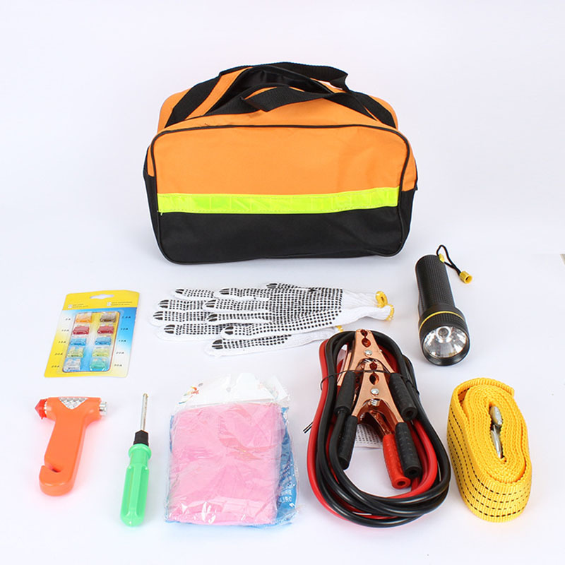 Car Emergency Kits 9 PCS Auto Roadside Emergency Tool Supplies Kit Bag Flashlight Car Breakdown Safety Equipment Survival Gear 1 set outdoor emergency equipment sos kit first aid box supplies field self help box for camping travel survival gear tool kits
