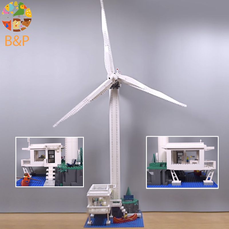 Legoing 4999 873pcs Creator The Vestas Windmill Turbine Model Building Blocks Brick Educational Toys For Children 37001 Lepin lepin 37001 creative series the vestas windmill turbine set children educational building blocks bricks toys model for gift 4999