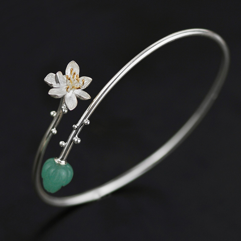 INATURE 925 Sterling Silver Natural Aventurine Lotus Flower Bracelets Bangles For Women Jewelry