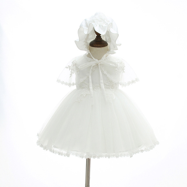 2018 Summer Baby Girl 3pcs/set Christening Gown Newborn Party and ...