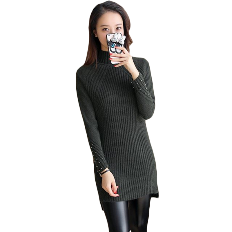 Women Sexy Beaded Sleeve Sweater Dress Winter Fashion Turtleneck Straight Basic Mini Solid Color Knitted Bottoming Dress XH611 2018 ladies women casual knitted dress sexy strap slip sleeveless v neck solid home bottoming straight sweater dress