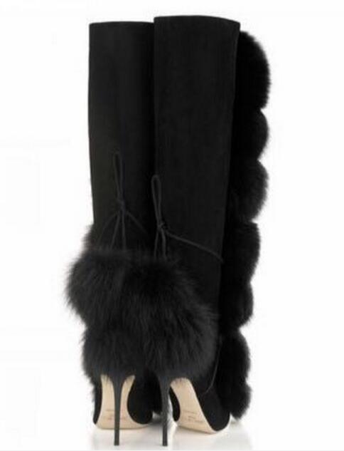 Tamaño Nieve Zip Sexy Stiletto Del Rodilla Botas Talón Invierno Black Mujeres De Visón Alta Calidad Piel Otoño Pelo Decoración wgZqZ4vx