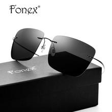 Fonex no screw titanium ultralight поляризованные rimless солнцезащитные очки женщины марка дизайнер негабаритных cat eye солнцезащитные очки для мужчин тени