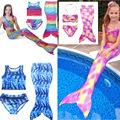 2017 New Muiltcolor Mermaid Tail Baby Girls Vintage Swimmable Mermaid Swimsuit for Swimming Sandy Beach Costume unicorn clothes