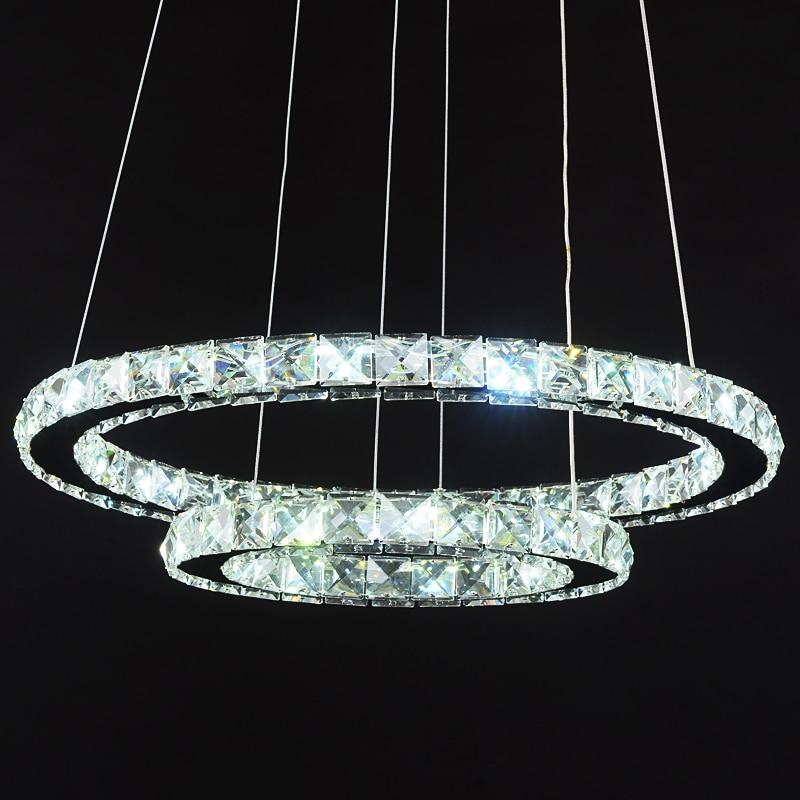 Ring LED Kristall Anhänger leuchtet moderne wohnzimmer licht esszimmer drei kreative persönlichkeit anhänger lampen ZZP183271 - 2