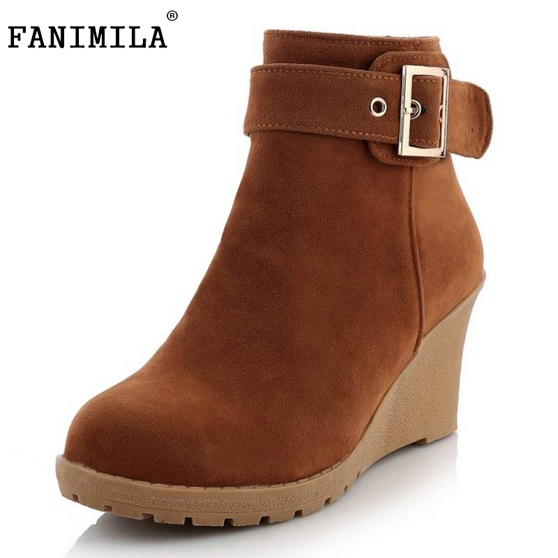 Women's Winter Warm Style High Wedges Platforms Snow Boots Sweet Zipper Shoes Ladies Vintage Half Short Boots Size 34-43 doratasia big size 34 43 women half knee high boots vintage flat heels warm winter fur shoes round toe platform snow boots