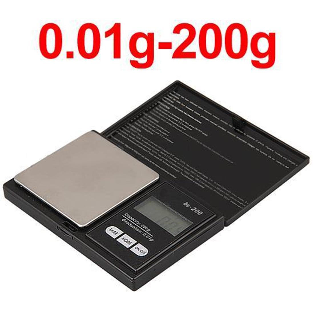 Escala 200g x 0,1g luminoso LED de bolsillo Escala electrónica de alta precisión de oro de la joyería de Gram escala de peso equilibrio