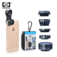 5in1 Camera Lens Kit for Smartphone Fish Eye 2in1 Macro and Wide Angle CPL + 2x Tele Lens with Carabiner and Cleaning Cloth DG5