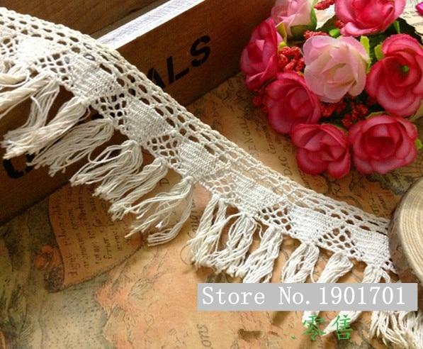 0e2865bc7 (10yds/Lot ancho 4.5 cm) Envío gratuito vintage beige crochet algodón  Encaje borlas, franja Recortes para Costura ropa