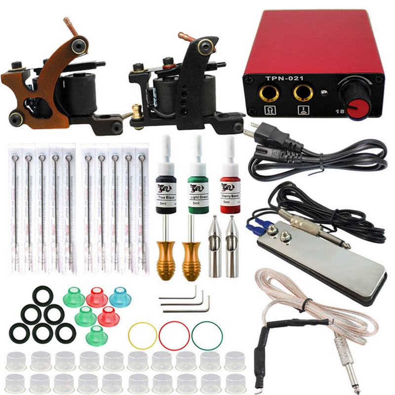 Professional Tattoo set Complete Equipment Tattoo kit Machine 2 Guns 3 Color Inks Power Supply Cord Kit Body Foot Padel professional tattoo kit 5 guns complete machine equipment sets teaching cd ink for beginners body art beauty tools tk 2509 m
