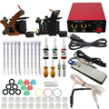 Professional Tattoo set Complete Equipment Tattoo kit Machine 2 Guns 3 Color Inks Power Supply Cord Kit Body Foot Padel