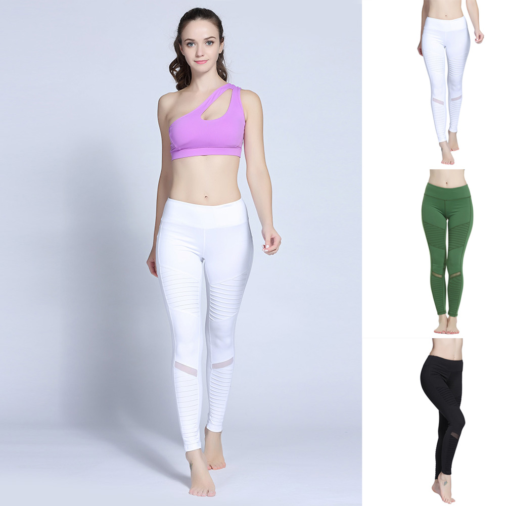 Women Hollow Out Mesh Splicing Pencil Pants Workout Quick-drying Fitness Tight High Waist Pants H9