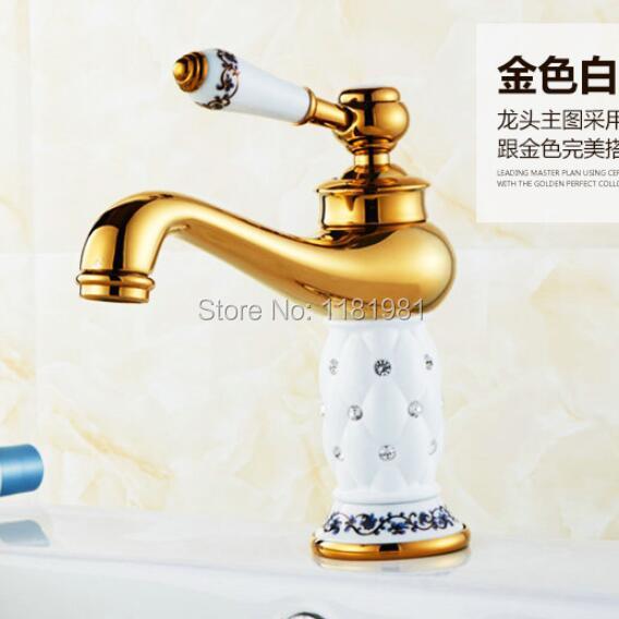 ゴールド ホワイト セラミックス で ダイヤモンド高級デッキ の取付け真鍮流域シンク浴室の蛇口bt 1  グループ上の 家のリフォーム からの 流域水栓 の中 1