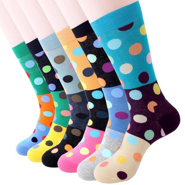 Jhouson 1 pair Colorful Men's Cotton Crew Funny Wedding Socks Classic Dot Pattern Novelty Skateboard Socks 1