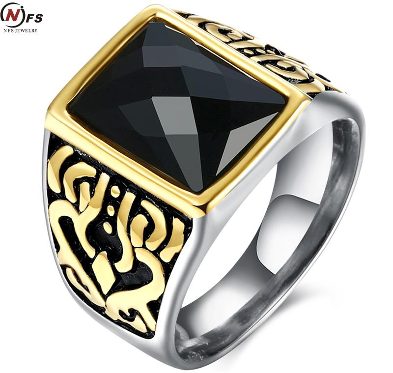 Vintage Look Ring Mosaic Big Square Black Stone Punk Stainless Steel Square Rings For Women  Antique Gold Plated Square Men  engagement ring