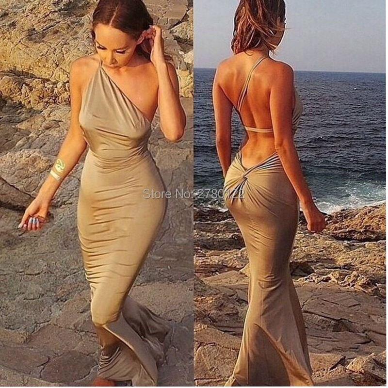 2019 Sexy robes De soirée longue une épaule Spandex sirène trompette dos nu pli robes formelles Robe De soirée