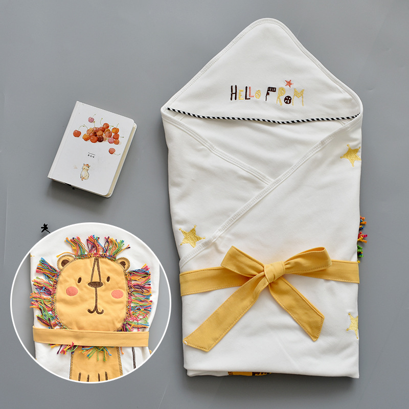 Cartoon Hooded Baby Receiving Blanket Soft Baby Swaddle Wrap Envelope Stroller Cover Blanket Newborn Sleeping Bag For 0-1Years