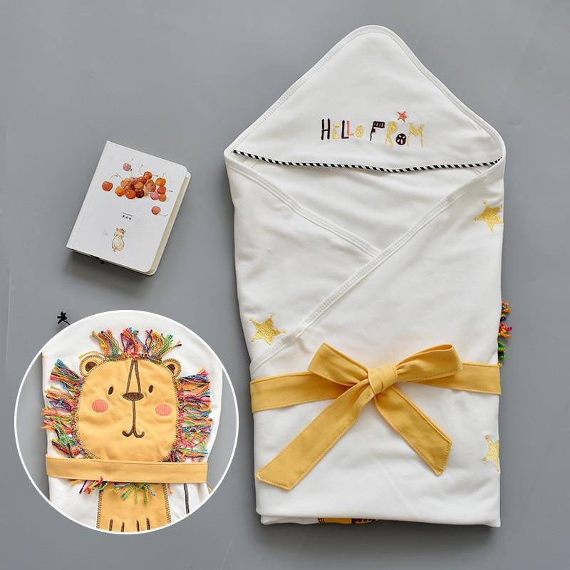 Cartoon Hooded Baby Receiving Blanket Soft Baby Swaddle Wrap Envelope Stroller Cover Blanket Newborn Sleeping Bag For 0-1Years