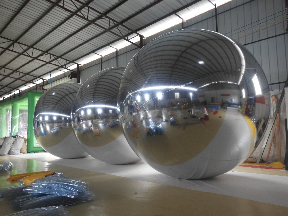 2M Silvery Inflatable Mirror Ball /Inflatable Advertising Ball For Exhibition