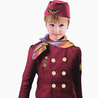 Girl Stewardess Cosplay Uniform Air Hostess's Red Dresses Fairy Deguisement For Carnaval Child's Halloween Cosplay Costumes