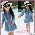 2014 весна осень одежду с длинными рукавами кружева джинсовые мода малыша девушка платье принцессы