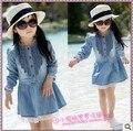 2014 del otoño del resorte niñas encaje de manga larga ropa de moda denim kid girl princess vestido